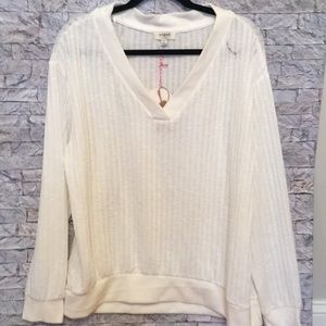 Umgee pullover ribbed sweater with fleece trim